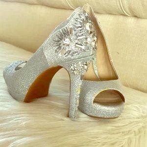Gianni Bini silver sparkle bling high heels